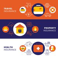 Insurance policy horizontal flat banners set