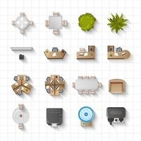Office Interior Icons Top View