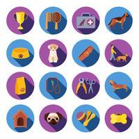Perros redondos conjunto de iconos planos