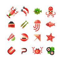 Fruits de mer isolé Icon Set