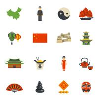 Conjunto de ícones plana de símbolos de cultura chinesa
