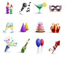 Conjunto de ícones de estilo colorido dos desenhos animados de celebração