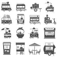 Conjunto de ícones de comida de rua preto branco