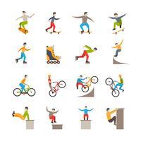 Vector iconos de deporte urbano con personas