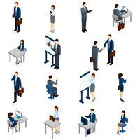 Set isometrico di uomini d'affari