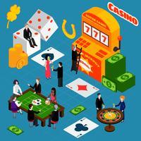 Bannière isométrique de symboles de chance intérieure de casino