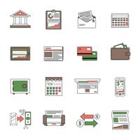 Bank Icons Outline