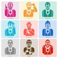 Conjunto de ícones de emoção monocromático