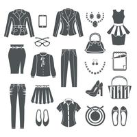 Modern Woman Clothes Black Icons  vector