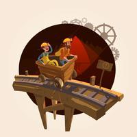 Mining tecknade koncept