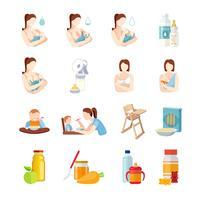 Conjunto de iconos planos de alimentación del bebé