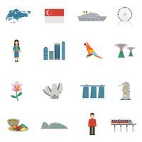 Singapore cultuur vlakke pictogrammen instellen