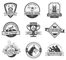Conjunto emblema perros vector