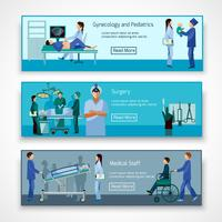 Medical professionals at work banners set