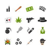 Iconos planos aislados del gángster