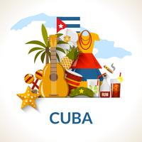 Stampa di Poster di composizione di simboli nazionali cubani