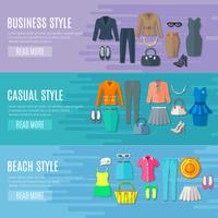Woman Clothes Horizontal  Banners Set