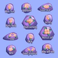 Conjunto de emblemas de gestos sociais