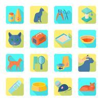 Iconos planos cat set sombra inclinada