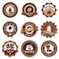 Conjunto de etiquetas de emblemas de café marrom