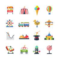Platt färg isolerade nöjespark ikoner