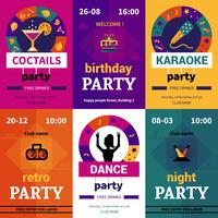 Seis carteles de fiesta de colores.