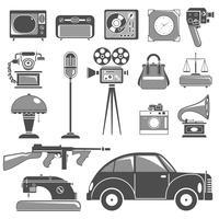 Conjunto de objetos retro negro blanco