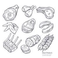 Esboços de produtos de carne gastronómica