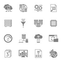 Database Analytics Black Icons Set