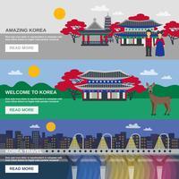 Cultura coreana 3 bandeiras planas conjunto