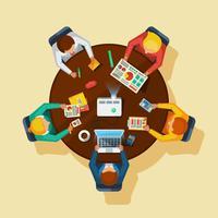 Affiche plate de réunion d'affaires vue de dessus