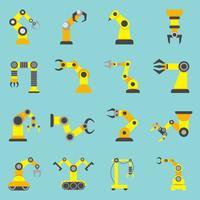 Robotic Arm Flat Yellow Icons Set