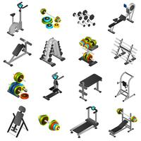 Realistic Fitness Equipment Icons Set
