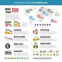 Financial Crisis Recession Statistic Infographics Layout
