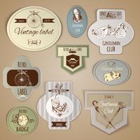 Conjunto de etiquetas de cavalheiro