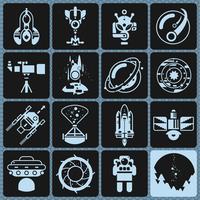 Iconos del espacio monocromo