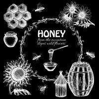 Conjunto de mel de quadro-negro
