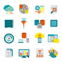 Database Analytics Flat Icons Set