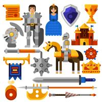 Flat Knight Icons Set