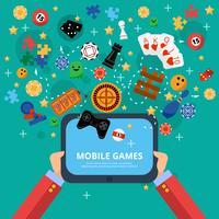 Cartel de entretenimiento de juegos móviles.
