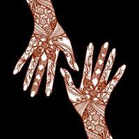 Mani di Mehendi su fondo nero