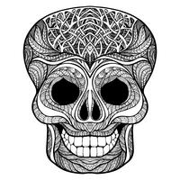 Decorative skull black doodle icon