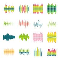 Equalizer flat icons set