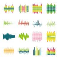 Conjunto de ícones plana de equalizador