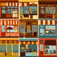 Conjunto restaurante y tienda de fachadas.
