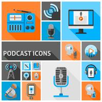 Iconos de podcast planos