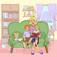Família lendo ilustração dos desenhos animados