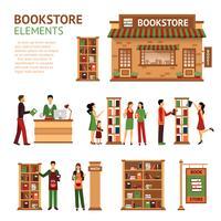 Set di immagini di elementi di libreria piana