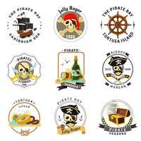 Conjunto de pegatinas de emblemas piratas.