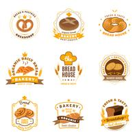 Bread Bakery Emblems Flat Icons Set
